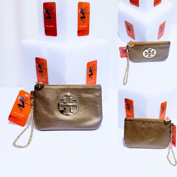 Tory Burch Handbags - 🆕Tory Burch Gold Leather & Chain Wristlet💋